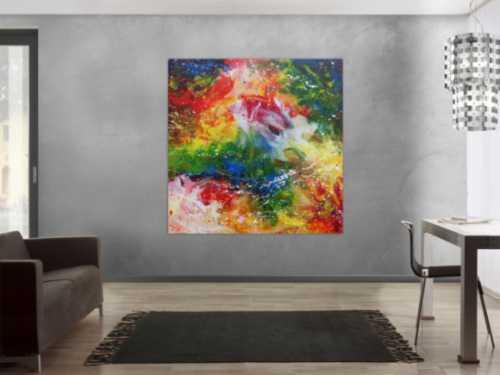 Abstraktes Acrylgemälde modern sehr bunt mit vielen Farben