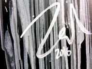 Detailaufnahme Minimalitisches abstraktes Acrylgemälde in schwarz weiß