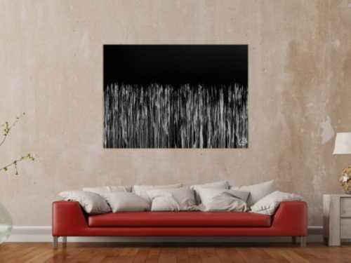 Minimalitisches abstraktes Acrylgemälde in schwarz weiß