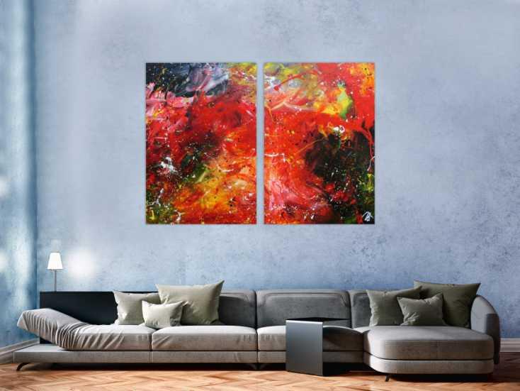 #672 Modernes abstraktes Acrylgemälde bunt aus zwei Teilen 120x160cm von Alex Zerr