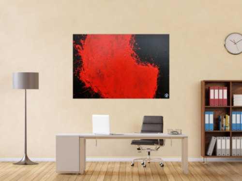 Abstraktes Acrylgemälde minimalistisch und modern in schwarz rot