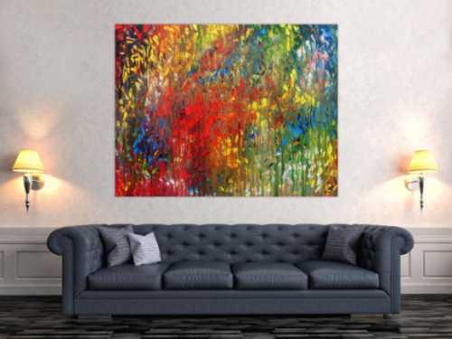 Sehr buntes abstraktes Acrylgemälde modern mit vielen Farben