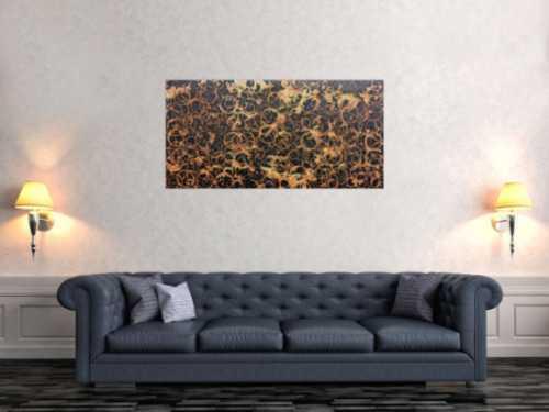 Modernes Acrylgemälde aus echtem Rost abstrakt