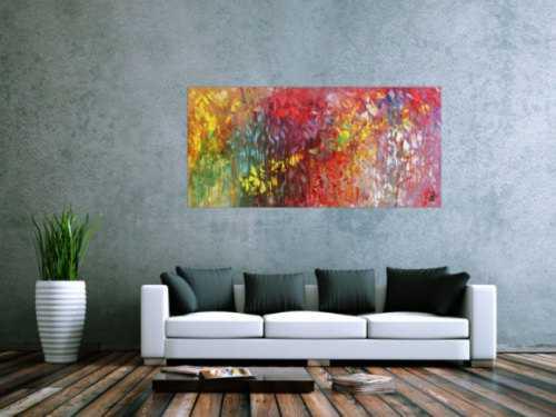 Abstraktes Acrylgemälde bunt modern mit vielen Farben