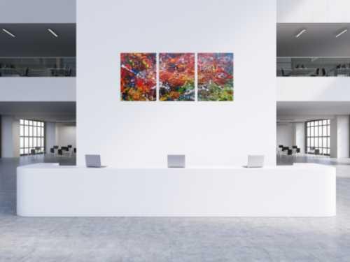 Abstraktes Acrylgemälde aus drei Teilen modernes Triptychon