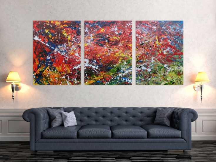 #677 Abstraktes Acrylgemälde aus drei Teilen modernes Triptychon 100x210cm von Alex Zerr