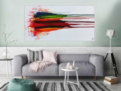 Modernes Acrylbild abstrakt bunt mit weißem Hintergrund