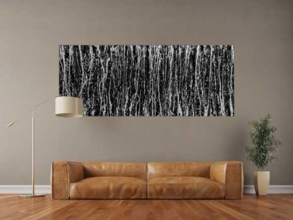 Abstraktes Acrylgemälde modern schwarz weiße Streifen