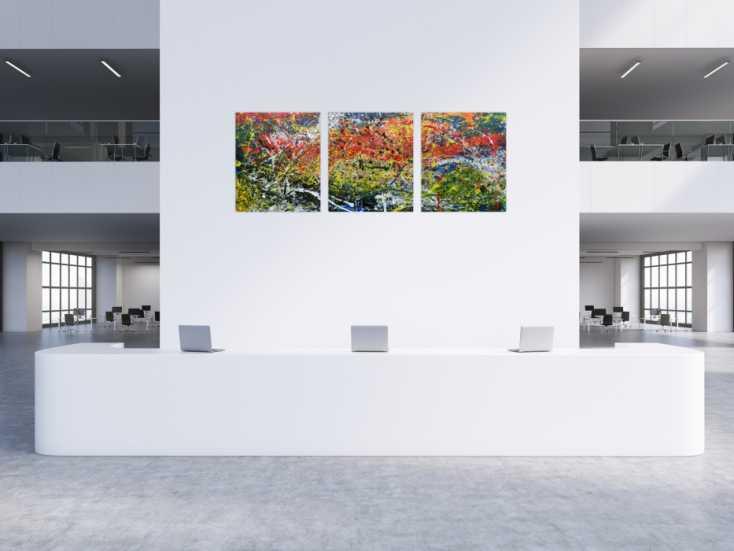 #680 Modernes Triptychon abstraktes Gemälde aus drei Teilen 100x240cm von Alex Zerr