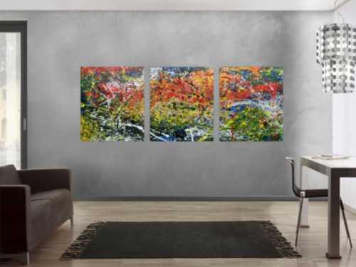 Modernes Triptychon abstraktes Gemälde aus drei Teilen