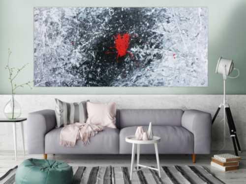 Abstraktes Acrylgemälde in schwarz weiß grau und rot