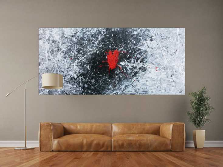 abstraktes acrylgem lde in schwarz wei grau und rot auf leinwand 100x220cm. Black Bedroom Furniture Sets. Home Design Ideas