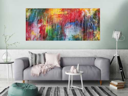Sehr buntes Acrylgemälde abstrakt modern mit vielen Farben