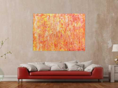 Abstraktes Acrylgemälde mit hellen orange Farben