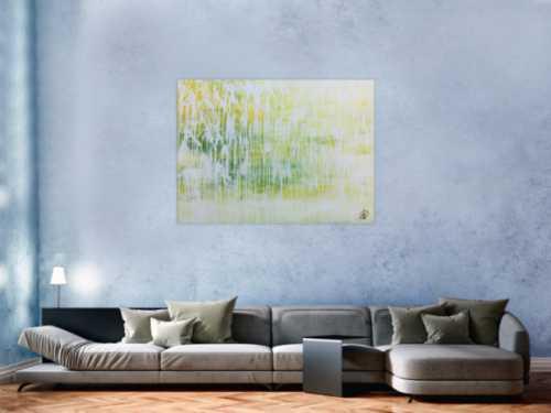 Helles Acrylgemälde abstrakt in modernem grün