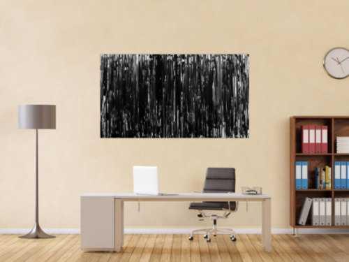 Modernes Acrylgemälde schlicht abstrakt in schwarz weiß