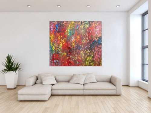 Buntes Acrylgemälde abstrakt modern mit vielen hellen Farben