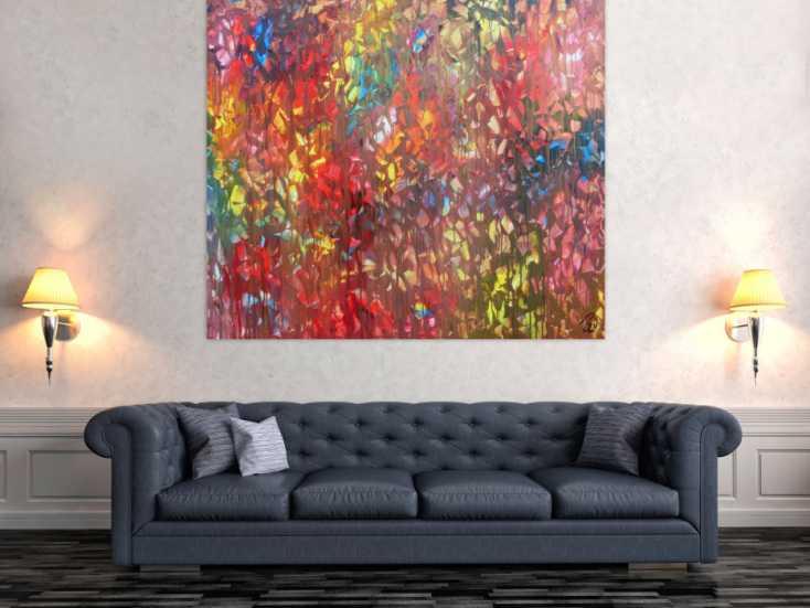 #688 Buntes Acrylgemälde abstrakt modern mit vielen hellen Farben 130x150cm von Alex Zerr