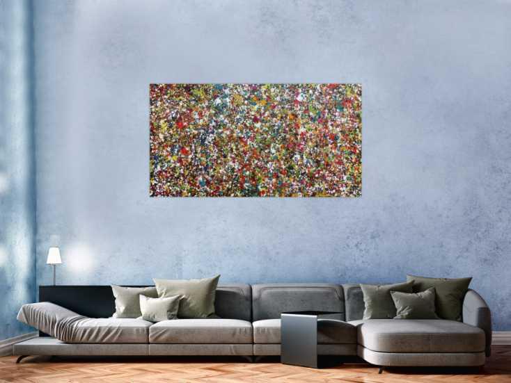 #689 Sehr buntes Acrylgemälde abstrakt mit vielen kleinen bunten Flecken 80x150cm von Alex Zerr
