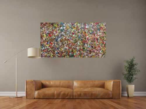 Sehr buntes Acrylgemälde abstrakt mit vielen kleinen bunten Flecken