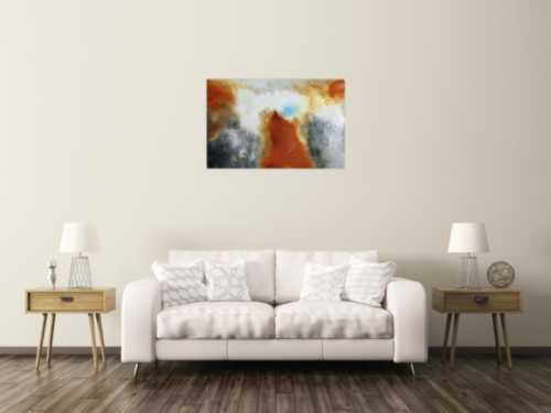 Abstraktes Gemälde mit echtem Rost