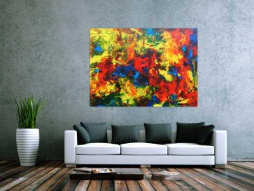 Modernes abstraktes Acrylgemälde sehr bunt und zeitgenössisch