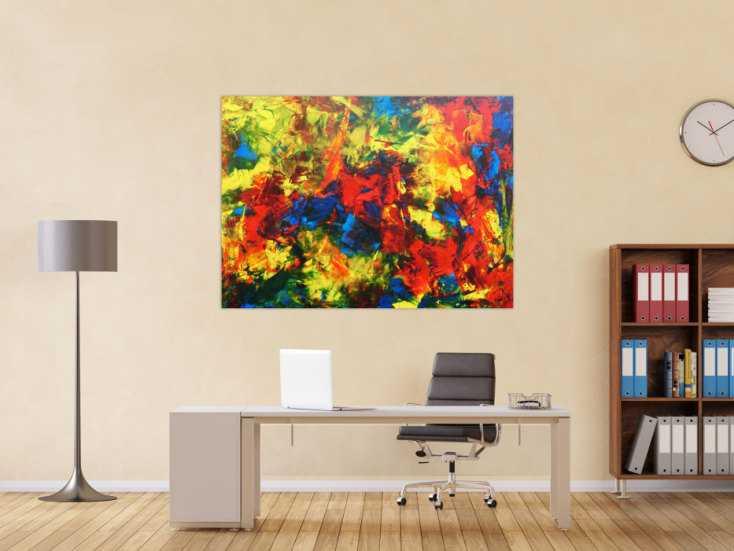 #690 Modernes abstraktes Acrylgemälde sehr bunt und zeitgenössisch 110x150cm von Alex Zerr