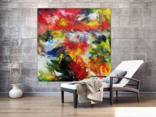Abstraktes buntes Acrylgemälde sehr modern mit vielen Fabrben