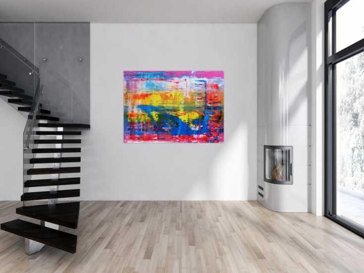 #693 Abstraktes Acrylbild modern und zeitgenössisch in blau gelb und pink 110x150cm von Alex Zerr
