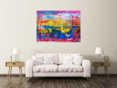 Abstraktes Acrylbild modern und zeitgenössisch in blau gelb und pink