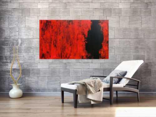 Modernes abstraktes Acrylgemälde in rot und schwarz minimalistisch