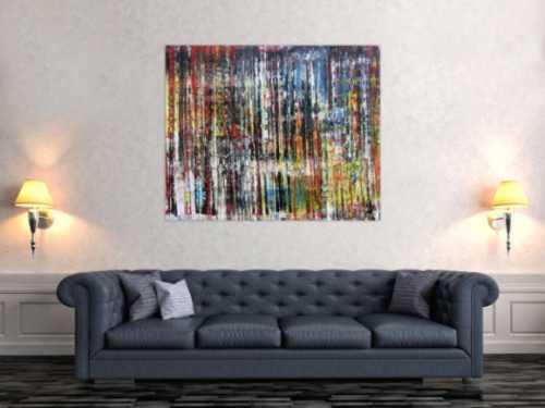 Sehr buntes abstraktes Acrylgemälde in Spachteltechnik