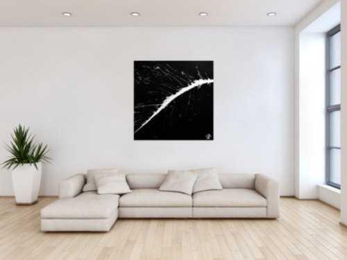 Modernes minimalistisches Acrylgemälde in schwarz weiß