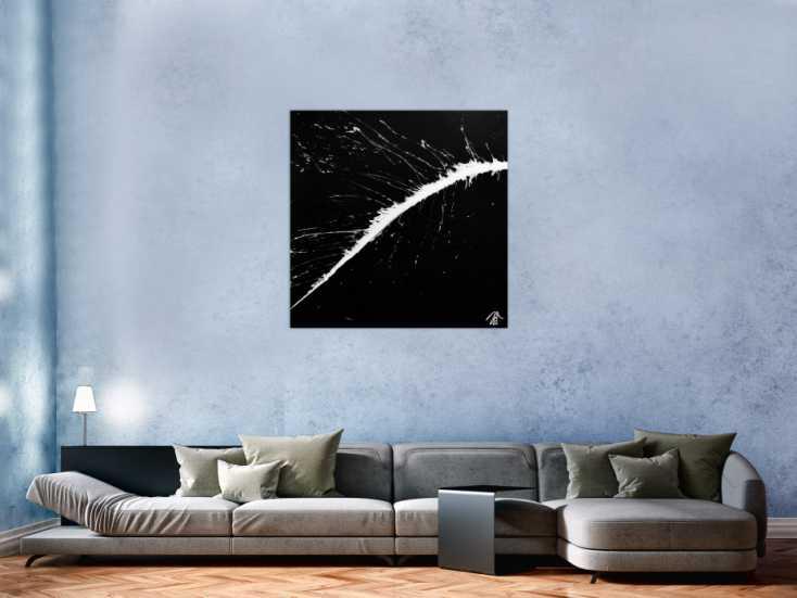 #697 Modernes minimalistisches Acrylgemälde in schwarz weiß 100x100cm von Alex Zerr