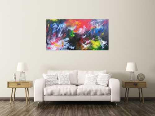 Abstraktes Acrylgemälde mit vielen Farben bunt und modern