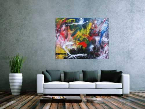 Buntes Acrlbild abstrakt modern mit vielen bunten Farben