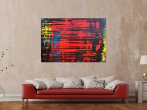 Abstraktes Acrylgemälde mit viel Rot modern und zeitgenössisch