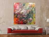 Abstraktes Acrylgemälde sehr modern mit hellen und dunklen Farben