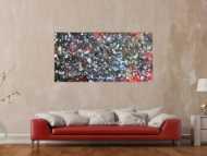 Modernes Acrylgeälde abstrakt bunt und dunkel mit hellen Flecken