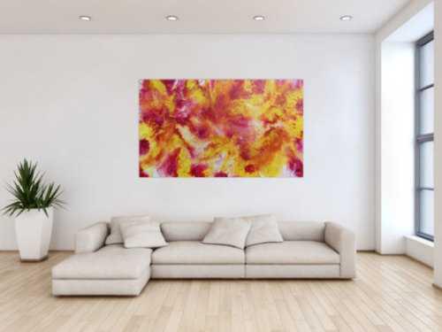 Schönes abstraktes Acrylgemälde in pink gemb und weiß