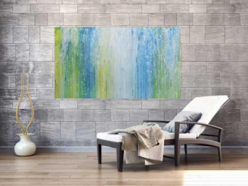 Modernes Acrylgemälde mit hellen Farben in blau türkis grün und weiß