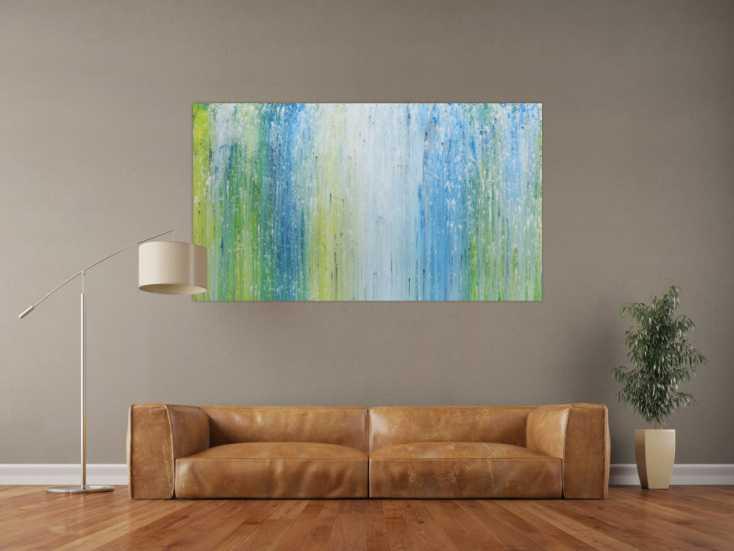 modernes acrylgem lde mit hellen farben in blau t rkis gr n und wei auf leinwand 90x160cm. Black Bedroom Furniture Sets. Home Design Ideas