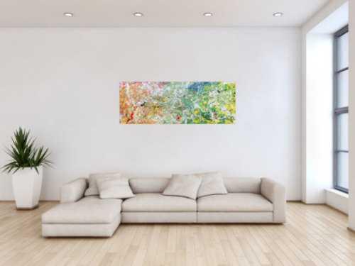 Modernes Acrylgemälde abstrakt mit hellen bunten Farben