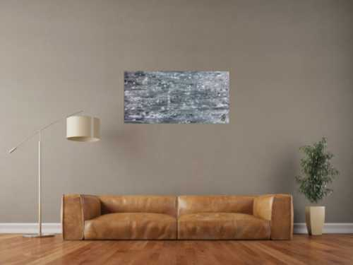 Abstraktes Acrylgemälde in grau schwarz und weiß sehr modern