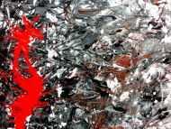 Detailaufnahme Sehr modernes abstraktes Acrylgemälde modern in grau schwarz weiß und braun