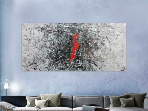 Sehr modernes abstraktes Acrylgemälde modern in grau schwarz weiß ... 100x220cm