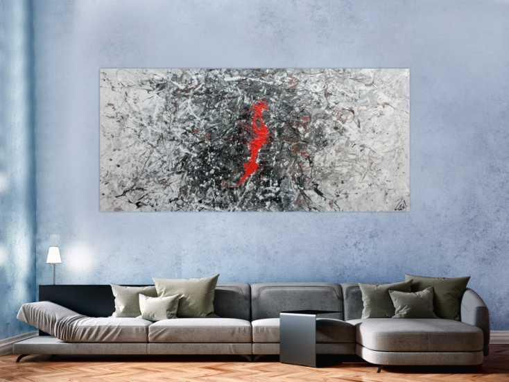 #711 Sehr modernes abstraktes Acrylgemälde modern in grau schwarz weiß ... 100x220cm von Alex Zerr