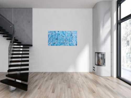 Modernes abstraktes Acrylgemälde in türkis und weiß