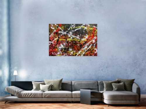 Sehr abstraktes Acrylgemälde in dunklen Farben mit schwarz weiß rot und gelb