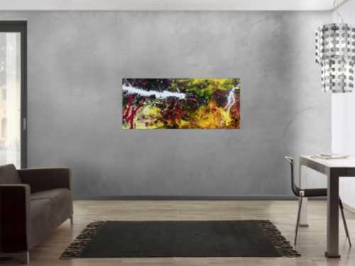 Abstraktes Acrylbild modern in Schwaz gelb weiß und pink